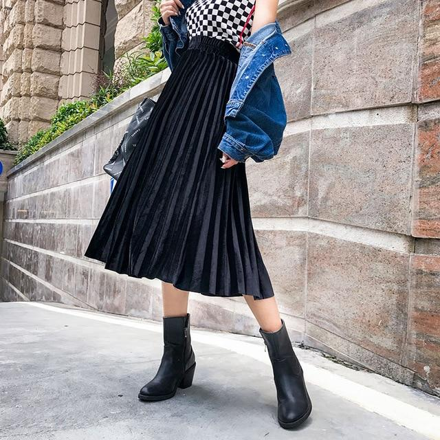 2018 New Autumn Winter Women Fashion Velvet Pleated Skirts High Waisteavengifts-eavengifts