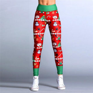 Christmas Trousers For Women Lady Casual Elasticity Skinny Leggins Mujer Higheavengifts-eavengifts