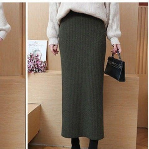 Hanyiren Pencil Skirt High Waist 2018 Autumn Winter Women Elegant Knitted Bodyconeavengifts-eavengifts