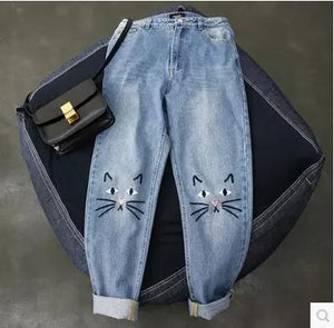 cute cat pattern embroidery women jeans woman push up jeans with higheavengifts-eavengifts