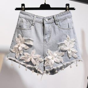 Pus Size 5XL 2018 Summer Women 3D Flower Pearl Tassels Denim Shortseavengifts-eavengifts