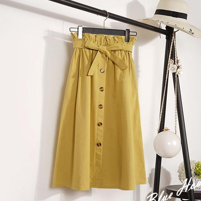 Summer Skirts Womens Mid-Calf Korean Elegant Button High Waist Skirt Female Pleatedeavengifts-eavengifts