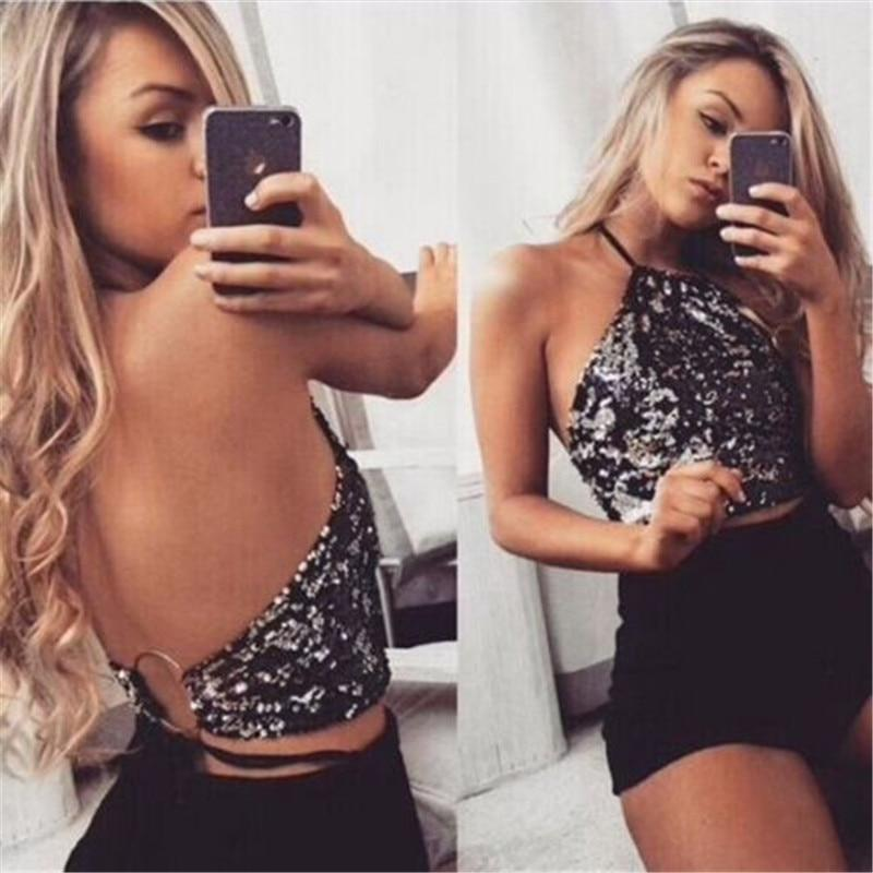 2018 Stylish Halter Handmade Sequin Crop Top Backless Summer Beach Night Partyeavengifts-eavengifts