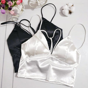 2 Colors Black White Satin Cami Tops Women Bralette Bustier Bra Vesteavengifts-eavengifts