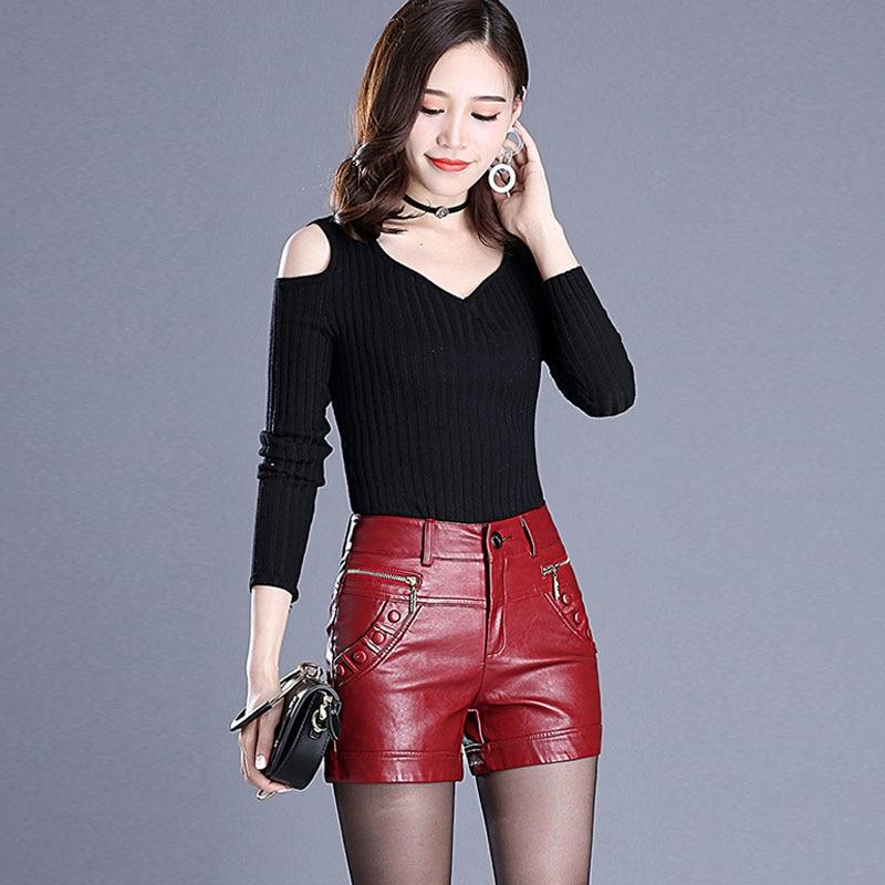 2018 Newnew winter pu leather shorts women boots high waist fashion shortseavengifts-eavengifts
