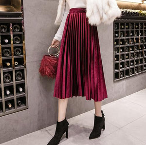 Velvet Large Swing Long Pleated Women Skirts Plus Size Skirts Faldas Saiaeavengifts-eavengifts
