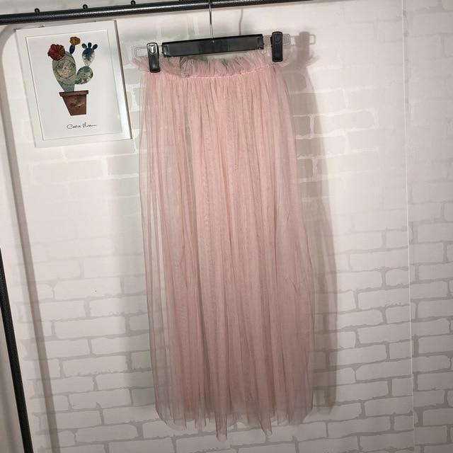 BJL 2018 Single layer 80cm Long Tulle Skirt Transparent Pleated Mesh Skirteavengifts-eavengifts