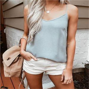 V Neck Loose Women Tanks Sexy Ladies Sleeveless Solid Summer Holiday Camisoleeavengifts-eavengifts