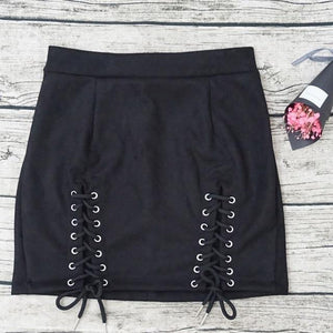 Ladies Suede Straps Sexy Package Hip Short Pencil Skirt Female Western Solideavengifts-eavengifts