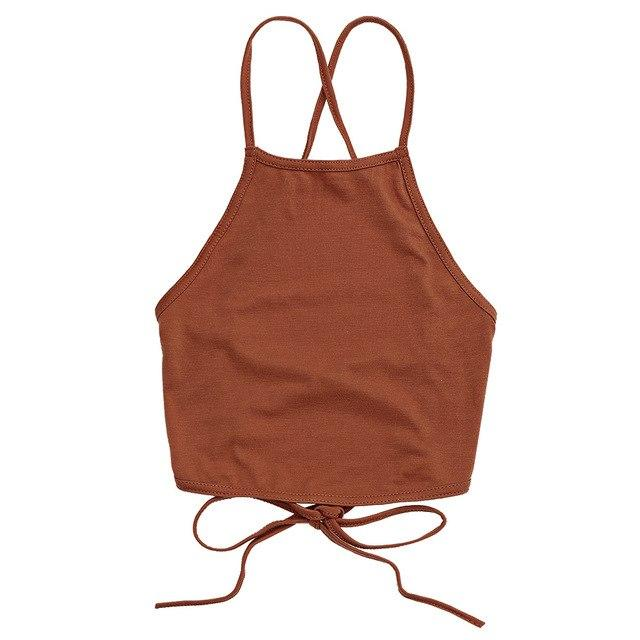 Summer Vintage Brown Faux Cropped Backless Tops Sexy Lace Up Camiseavengifts-eavengifts