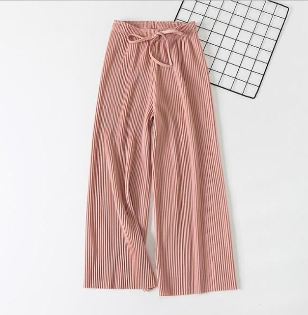 2019 Spring Summer New High Waist Pleated Chiffon Wide Leg Pants ElasticCasualeavengifts-eavengifts