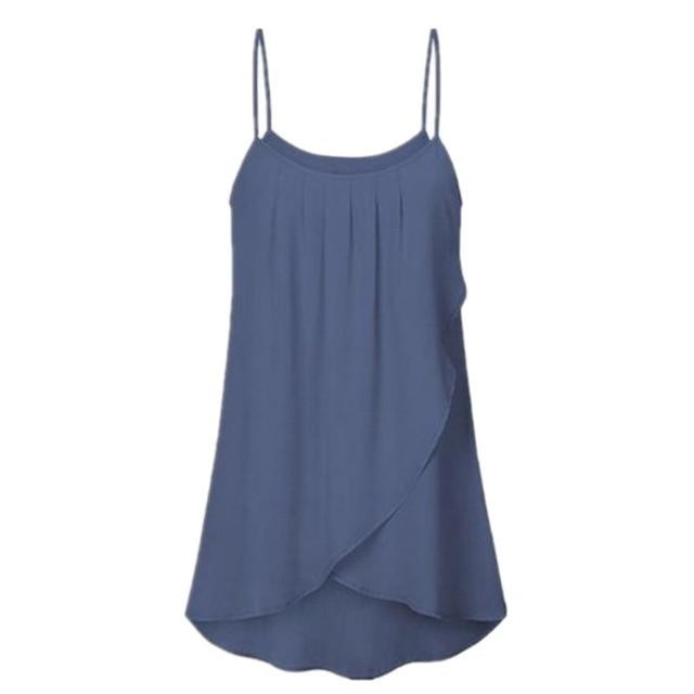 S-XXXXXL All Size Women Fashion Plus Size Casual Solid Sleeveless Chiffon Solideavengifts-eavengifts