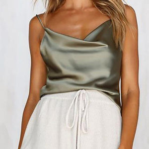 2018 Women Silk Satin Camis Plain Sleeveless Strappy Camisole Vest Tank Topeavengifts-eavengifts