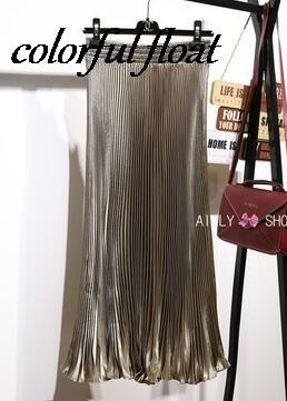 long skirts Women Girls skirt Satin accordion pleated new metal pleated skirteavengifts-eavengifts