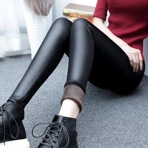 Autumn and winter thickening imitation leather leggings large size women's pants stretcheavengifts-eavengifts