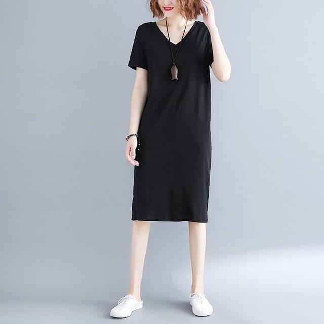 #4204 2018 Korean Style Half Sleeve T shirt Long Large Size Blackeavengifts-eavengifts