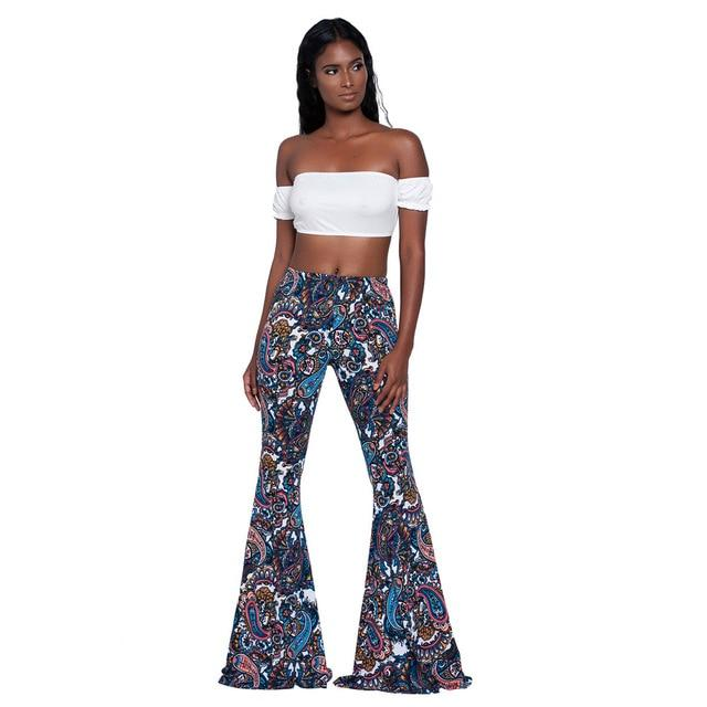 2019 Summer Vintage Ethnic Print Flare Pants Women High Waist Full Lengtheavengifts-eavengifts
