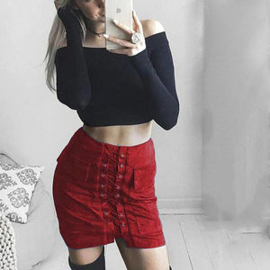 2018 Women Autumn Lace up Pencil Skirt Winter Fashion Cross High Waisteavengifts-eavengifts