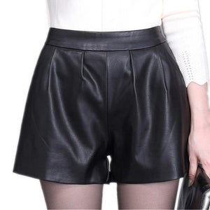 High waist Women Plus size leather shorts 2018 Winter Fashion PU leatheeavengifts-eavengifts