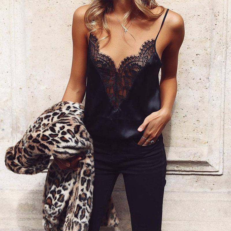 Women Vest Ladies Summer Lace Strap Off-shoulder Blouses 2019 Women Black Sleevelesseavengifts-eavengifts
