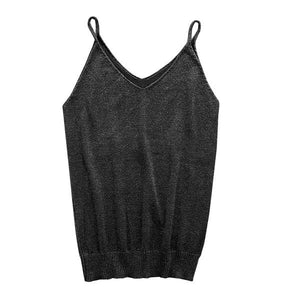 9 Colors Glittering Knitted Women Camisole Vest Stretchable V Neck Slim Sexyeavengifts-eavengifts