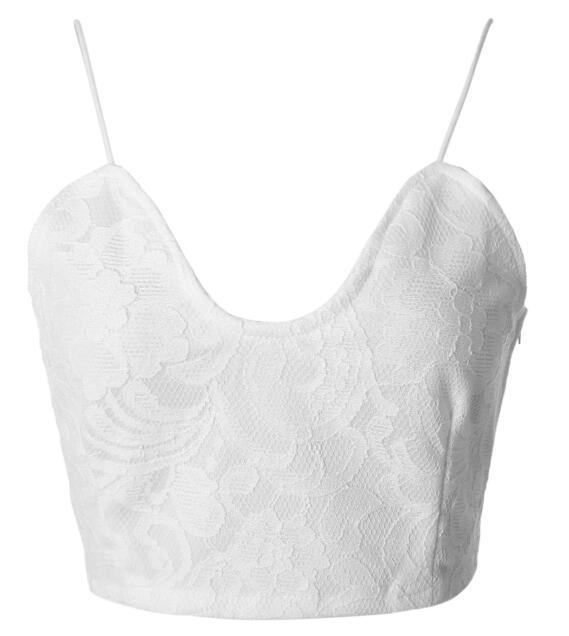 2018 Deep V-Neck Spaghetti Strap White Crop Top For Women Female Laceeavengifts-eavengifts