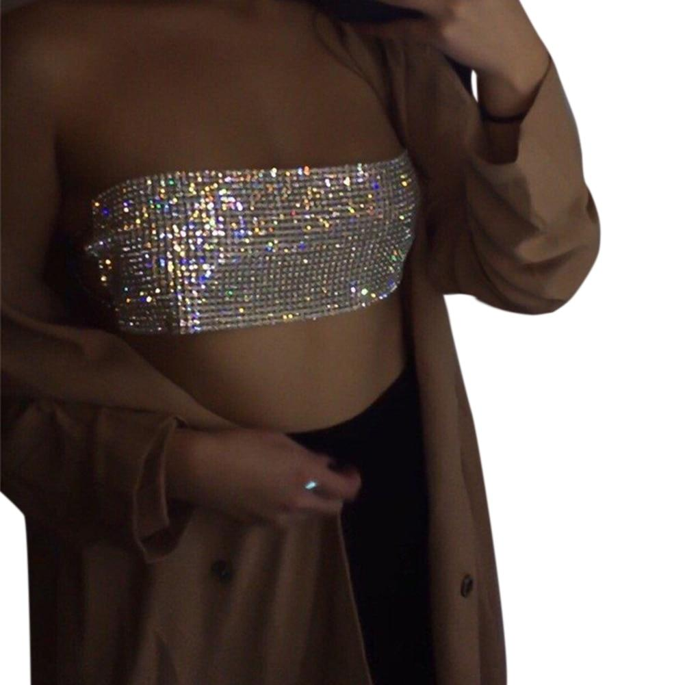 New Sexy Women Sequined Crystal Diamonds Crop Top Party Club Boob Tubeeavengifts-eavengifts