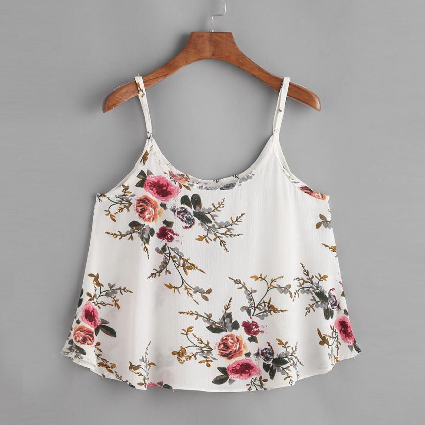 crop tops women 2018 white floral print sexy tops chiffon summereavengifts-eavengifts