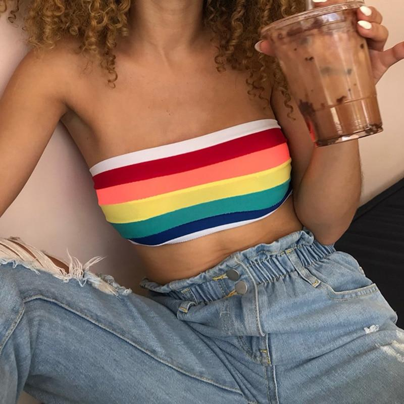 Sexy Summer Tube Top Women Strapless Bustier Crop Top Stripe Vest Bandeaueavengifts-eavengifts