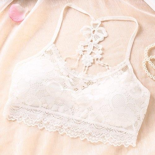 1PC Women Fashion Lace Flower Vest Crop Top Strap Vest Cross Strapeavengifts-eavengifts