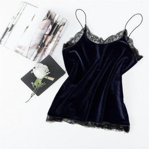 Fashion Sexy Lace Patchwork V-neck Velvet Crop Tops 2018 Summer Women Sleevelesseavengifts-eavengifts