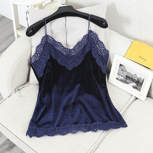 SEXY LACE 2018 Women Camis Spring Velvet summer V Neck women's tuniceavengifts-eavengifts