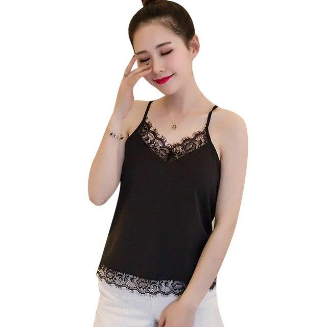 Summer Casual Lace Camisoles Tank Top Women Tops Sleeveless T-Shirt Spaghetti Strapeavengifts-eavengifts