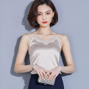 5 Colors Size S-2XL 2018 Women Satin Patchwork Lace Camis Tops Femaleeavengifts-eavengifts