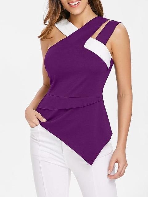 Women Asymmetrical Flare Tank Top Sleeveless Cutout Back Zipper Color Blockeavengifts-eavengifts