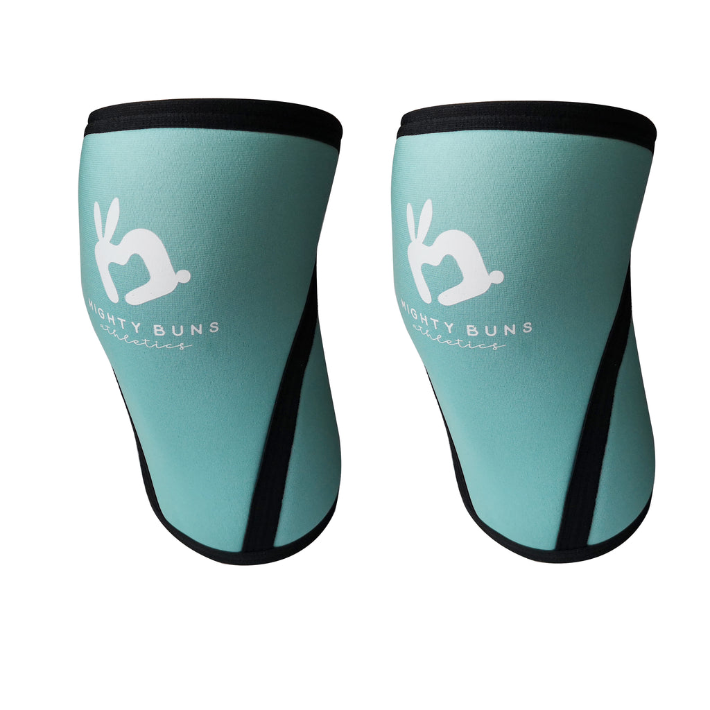 Women lifting knee sleeves, women sizes, feminine knee sleeve designs, 7mm knee sleeves, high quality knee sleeves, cute design, mint color knee sleeves, blue green, mighty buns athletics