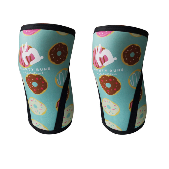 Donut knee sleeves, women lifting knee sleeves, women sizes, feminine knee sleeve designs, 7mm knee sleeves, high quality knee sleeves, cute design, mint color knee sleeves, blue green, mighty buns athletics