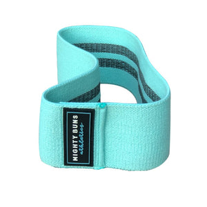 mint blue heavy duty resistance band, cotton and polyester, rubber threads and logo design, 200 lb heavy-duty resistance band, free mint mesh bag, peach bands, booty band, slingshot