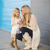 Autumn Mommy Me Clothes Tassel Jacket Coat+Vest 2pcs Family Matching Outfit