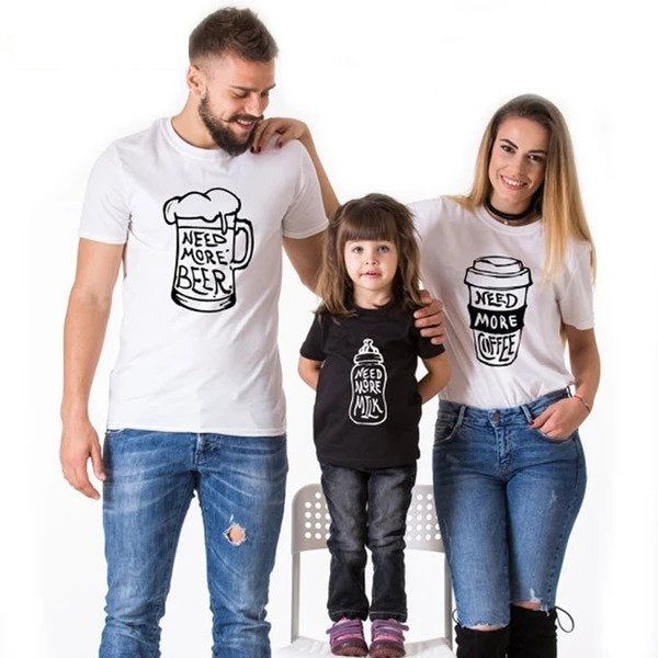 Matching Looks Mommy Daddy and Me clothe Family Matching Outfit Baby Cotton tshirt sets