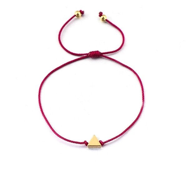 VEKNO Mommy and Me Copper Triangle Braided Matching Bracelet Lucky Couple Jewelry Red String Rope Bracelets For Women Men Kids