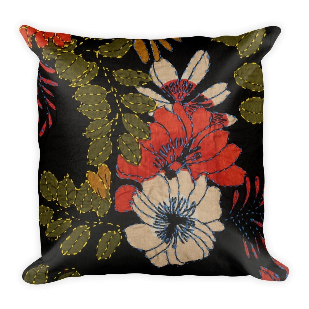 Black Floral Square Pillow