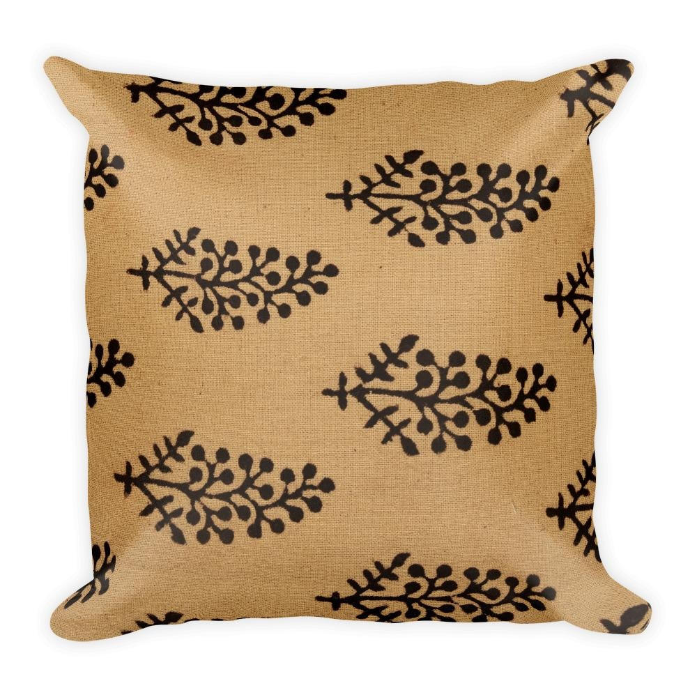 Block Black Motifs Square Pillow