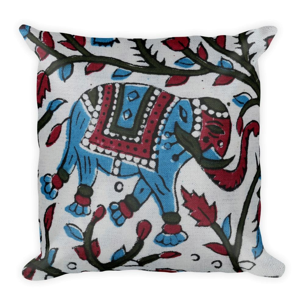 Buy Handmade Blue Printed Elephant Square Pillow - TheVirasat - Home Furnishings Textile Exporter