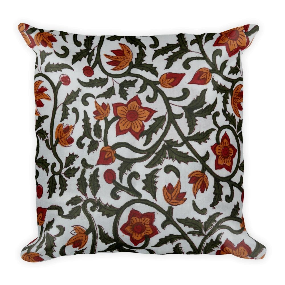 Buy Handmade Block Floral Square Pillow - TheVirasat - Home Furnishings Textile Exporter