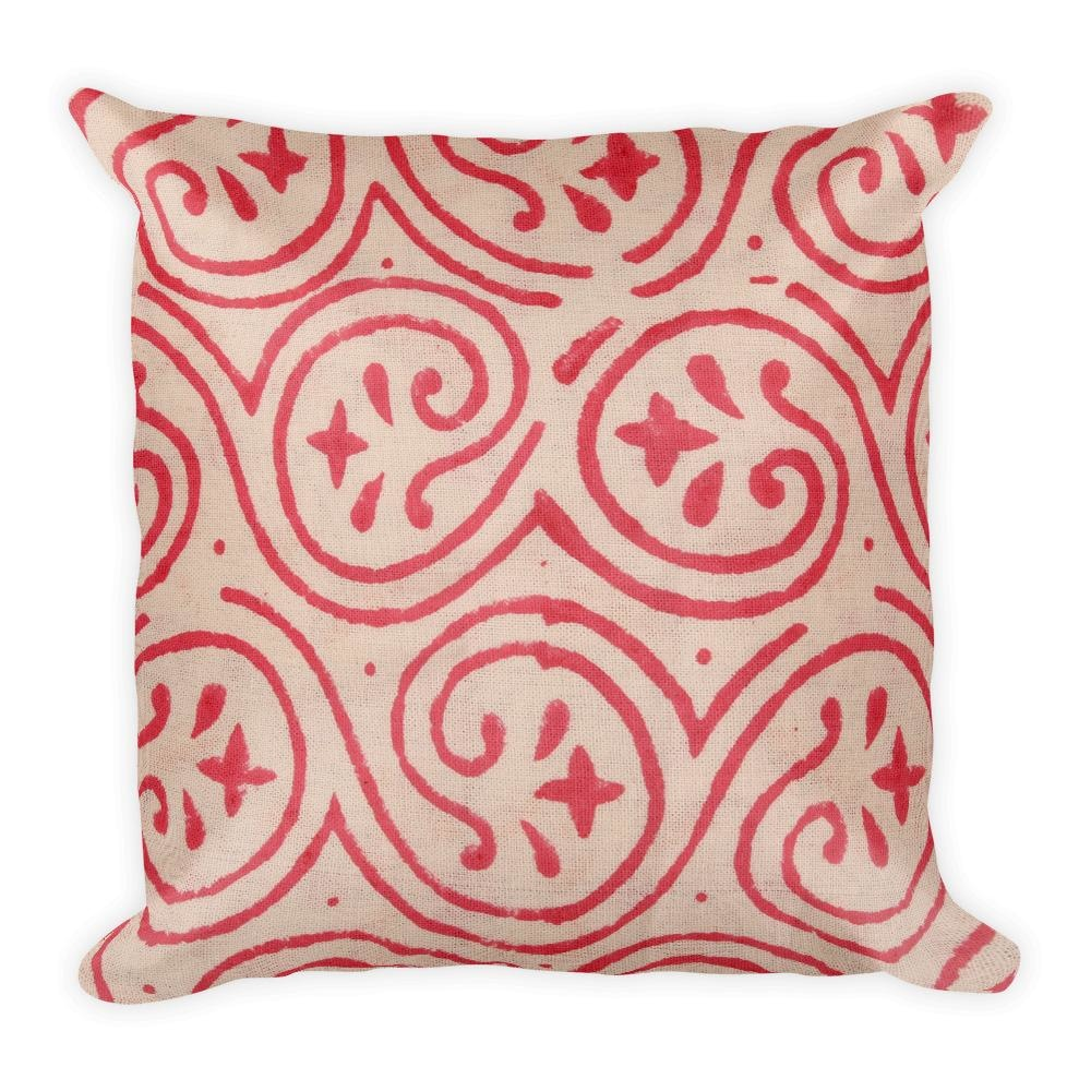 Block Red Spiral Square Pillow