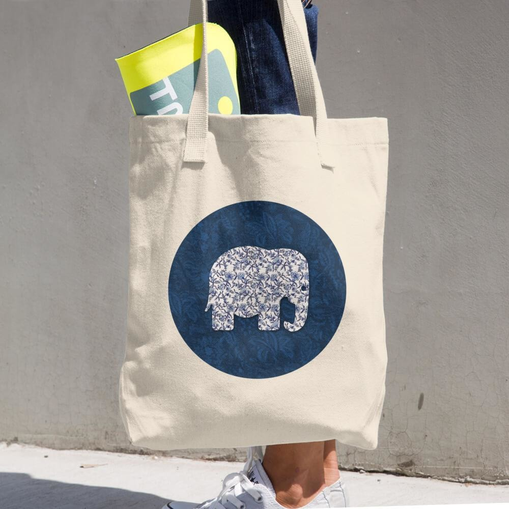 Blue Elephant Cotton Tote Bag