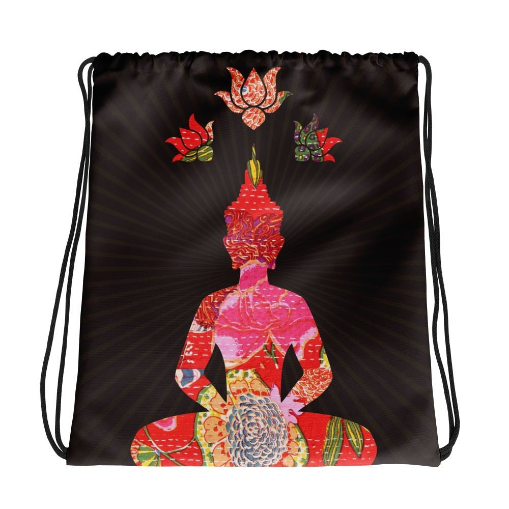 Buddha Drawstring bag, Buddha Gym Bag - TheVirasat - Home Furnishings Textile Exporter
