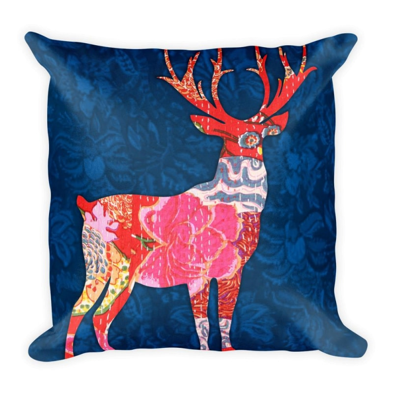 Coloured Deer Square Pillow Premium Pillow Printed Pillow