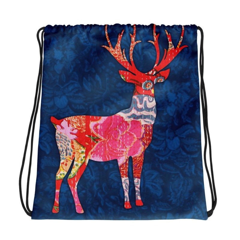 Deer Drawstring bag, Deer Backpack - TheVirasat - Home Furnishings Textile Exporter